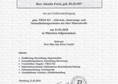 Zertifikat gem. TRGS 521